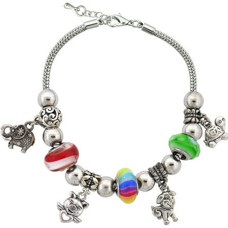 Silvertone Zoo Theme Charm and Glass Beads Bracelet with Extender, 7.5