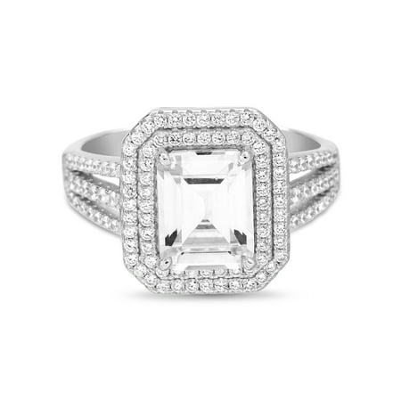 Inspired by You Emerald Cut Prong Set Cubic Zirconia Bridal Engagement Halo Ring for Women in Rhodium Plated 925 Sterling Silver