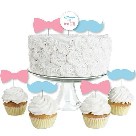 Chevron Gender Reveal - Dessert Cupcake Toppers - Gender Reveal Clear Treat Picks - Set of 24](Gender Reveal Cupcake Toppers)