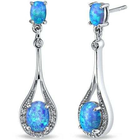3.75 Carat T.G.W. Oval-Shape Blue Opal Rhodium over Sterling Silver Stud Earrings