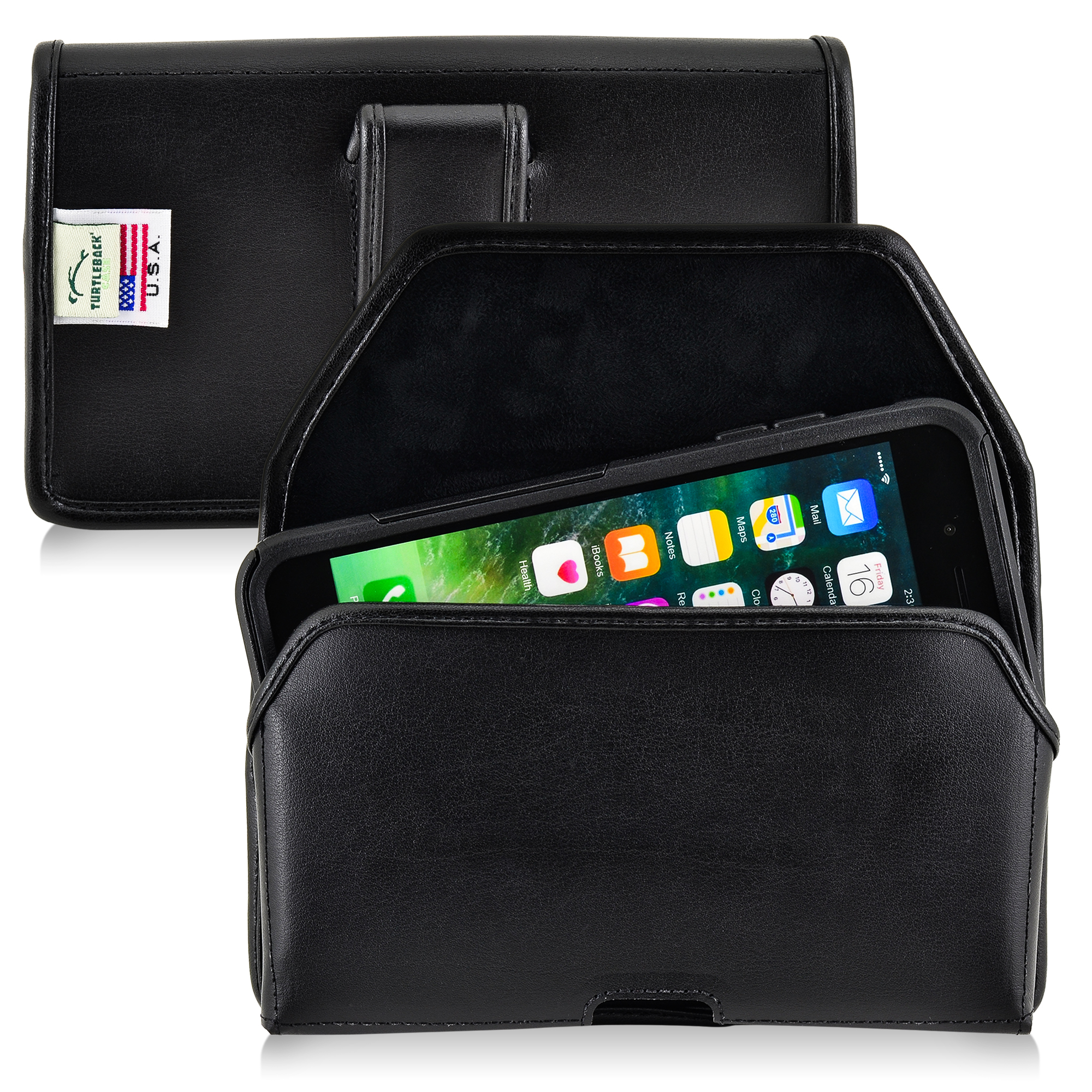 iPhone 7 Plus Commuter Holster, Turtleback iPhone 7 with Otterbox Commuter Belt Case, Black Pouch with Belt Clip, in Leather and Nylon - Made in USA