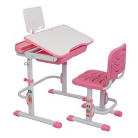 Ktaxon Height Adjustable Children's Learning Desk Table and Chair Set w/ Bookstand, Pink