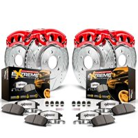Power Stop Front and Rear Z36 Truck & Tow Brake Kit with Red Powder Coated Calipers KC2015-36
