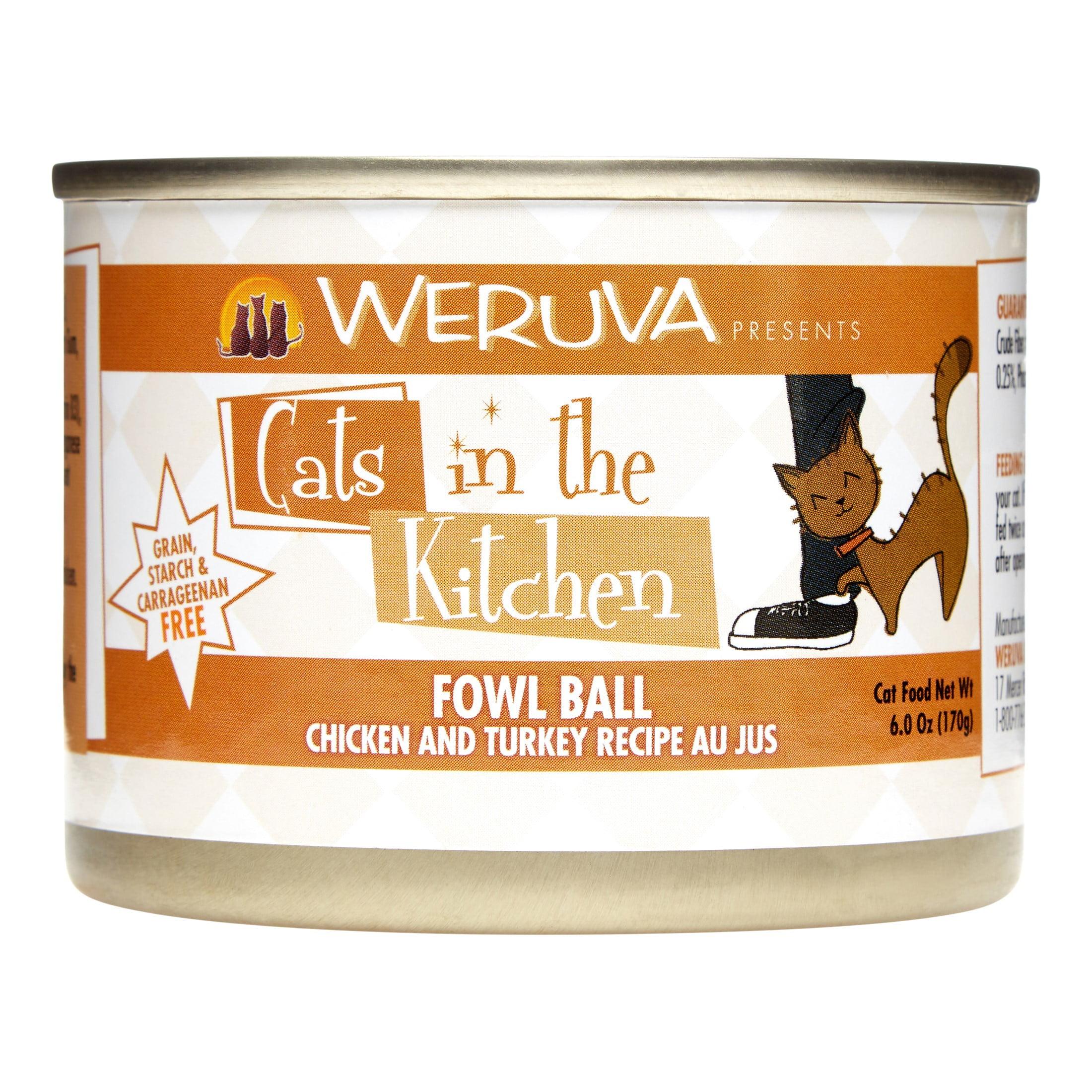 Weruva Cats in the Kitchen Grain-Free Fowl Ball Chicken & Tuckey Recipe Wet Cat Food, 6 Oz (24 Pack)