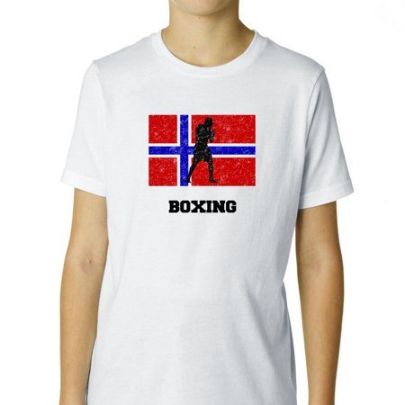 Norway Olympic - Boxing - Flag - Silhouette Boy's Cotton Youth (Bowling Silhouette)