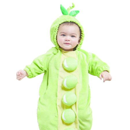 Infant Boys & Girls Plush Green Pea In A Pod Baby Bunting Halloween Costume 0-6m for $<!---->