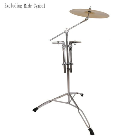 Reactionnx Professional Pedal Control Style Double Tom Drum Stand with Cymbal Boom Arm Silver and Black