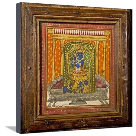 Krishna 19th Century Miniature Painting Stretched Canvas Print Wall Art By Paul Stewart