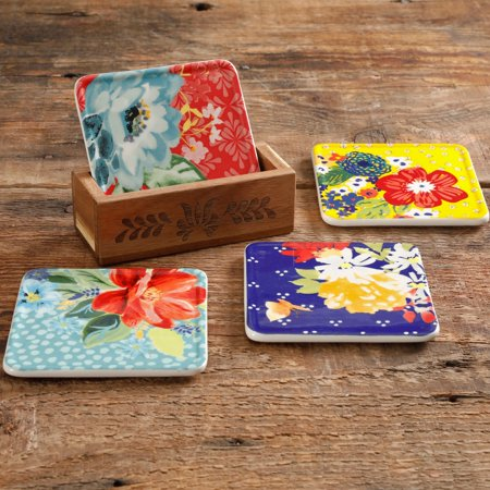 The Pioneer Woman Floral Coasters with Wood Box
