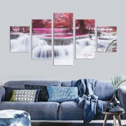 Framed 5Pcs Red Tree Forest Waterfall Canvas Wall Art Decoration Abstract Landscape Printed Paintings Living Room Diningroom Room Home Decor