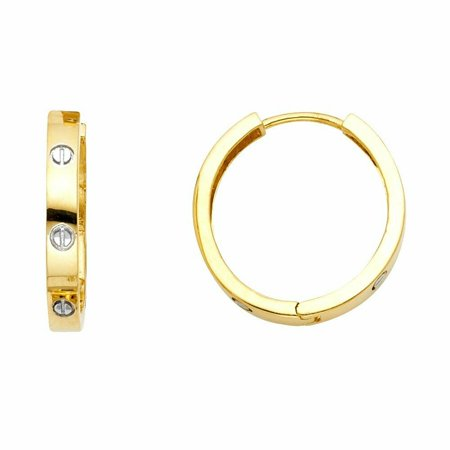 - 14k Two Tone High Polished Matte Finish Gold 3mm Thickness Nail Head Huggie Hoop Earrings (15mm X 15mm)