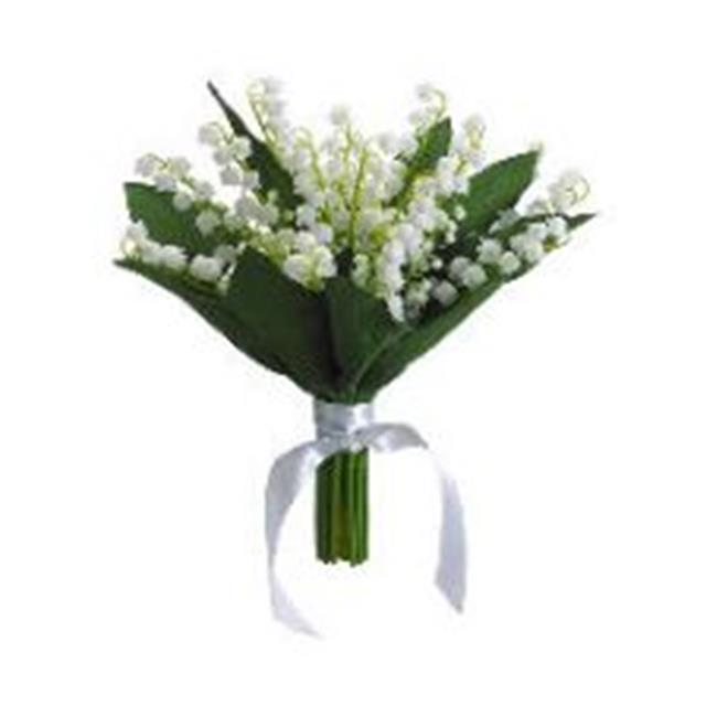 FBQ121-CR 10 inch Lily of The Valley Bouquet Cream- Pack of 6