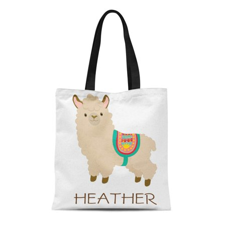 LADDKE Canvas Tote Bag Teal Cute Llama Custom Name Add Your Create Reusable Handbag Shoulder Grocery Shopping Bags