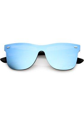Futuristic Horn Rimmed Rimless Sunglasses Mirrored Shield Lens 59mm (Black / Blue Mirror)