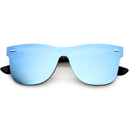Futuristic Horn Rimmed Rimless Sunglasses Mirrored Shield Lens 59mm (Black / Blue (Rimless Sunglasses For Men)
