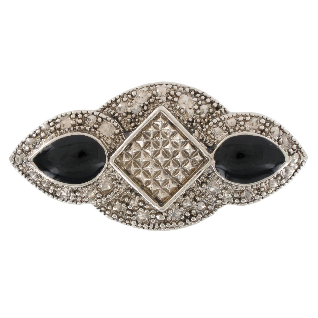 Silver Tone Black Oval Accent Art Deco Revival Pin Brooch by