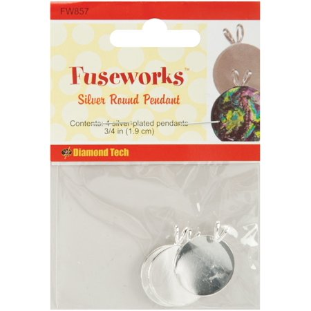 Fused Silica Glass (Silver Round Pendant Plate, 4-Pack, Create handcrafted pendants from fused glass By Fuseworks From USA )