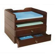 Bindertek Stacking Wood Desk Organizers, 2 Tray & 2 Drawer Kit, Mahogany BDSW...