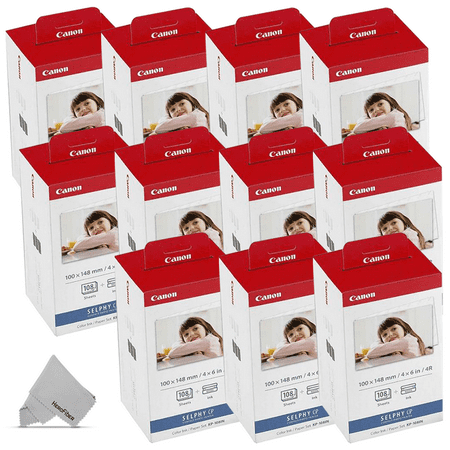 10 Pack Canon KP-108IN / KP108 Color Ink Paper includes 108 Ink Paper sheets + 6 Ink toners for Canon Selphy CP1300, CP1200, CP910, CP900, cp770, cp760 Compact Photo Printers