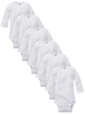 Gerber Baby Boy or Girl Gender Neutral White Organic Onesies Long Sleeve Bodysuits, 6-Pack