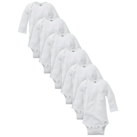 Gerber White Organic Cotton Long Sleeve Onesies Bodysuits, 6pk (Baby Boys or Baby Girls,