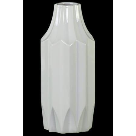Urban Trends Collection: Ceramic Vase Gloss Finish White ()