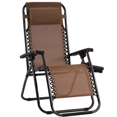 Patio Chair Zero Gravity Chairs Set of 1 Outdoor Adjustable Dining Reclining Folding Chairs for Deck Patio Beach Yard with Pillow and Cup Holder ()