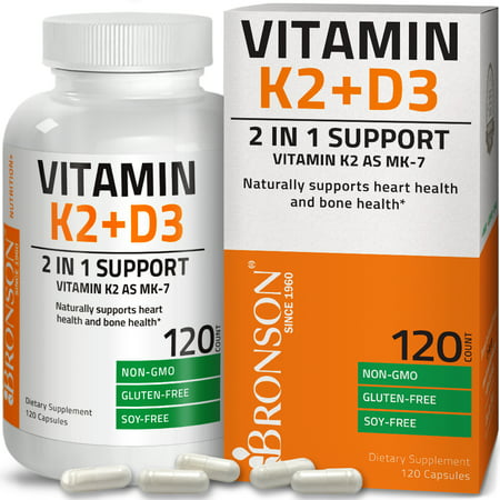 Vitamin K2 (MK7) with D3 Supplement Bone and Heart Health Non GMO & Gluten Free Formula - Easy to Swallow, 120