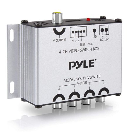 4-Channel Car Video Switcher Box - 4 Camera Input Port 1 Video Output via Vehicle Monitor 4 Way Multi Vid Splitter Multiplexer w/Individual Switch for Updated Real Time Live Streaming - Pyle PLVSWI15