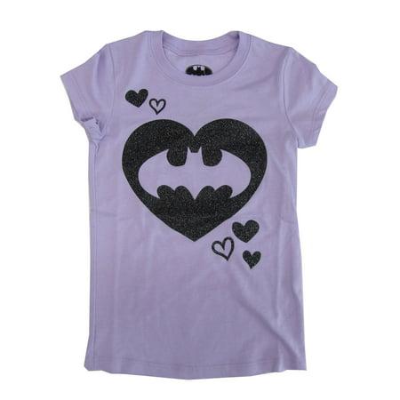 Batgirl Logo (DC Comics Girls Purple Batgirl Heart Logo Print Trendy)