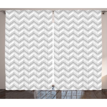 Geometric Decor Curtains 2 Panels Set, Simple Zig Zag Chevron Many Angle Pattern Minimalist Abstract Design, Window Drapes for Living Room Bedroom, 108W X 90L Inches, Light Grey White, by Ambesonne ()