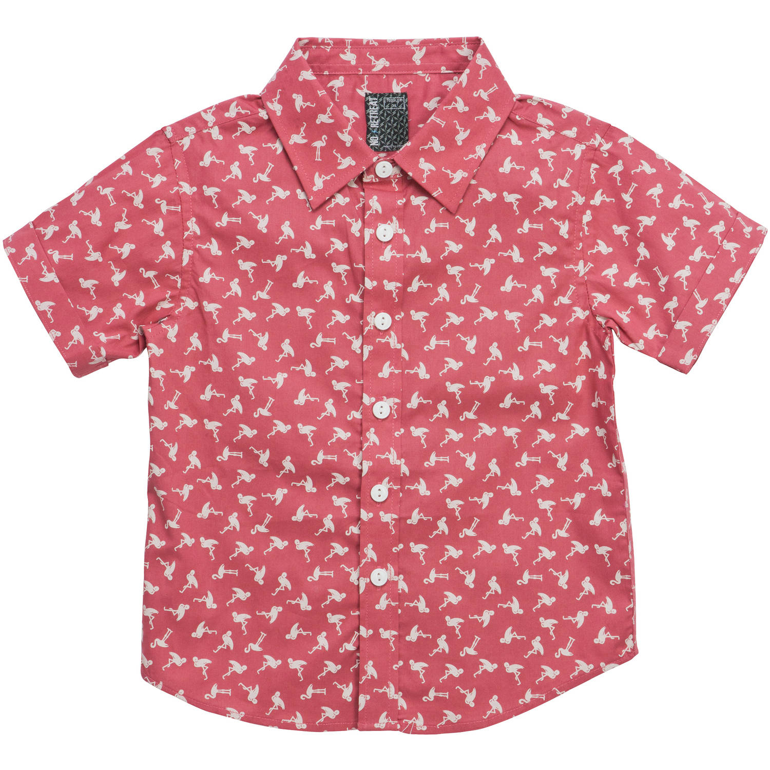 Toddler Boys\' Flamingo Print Short Sleeve Woven Shirt - Walmart.com