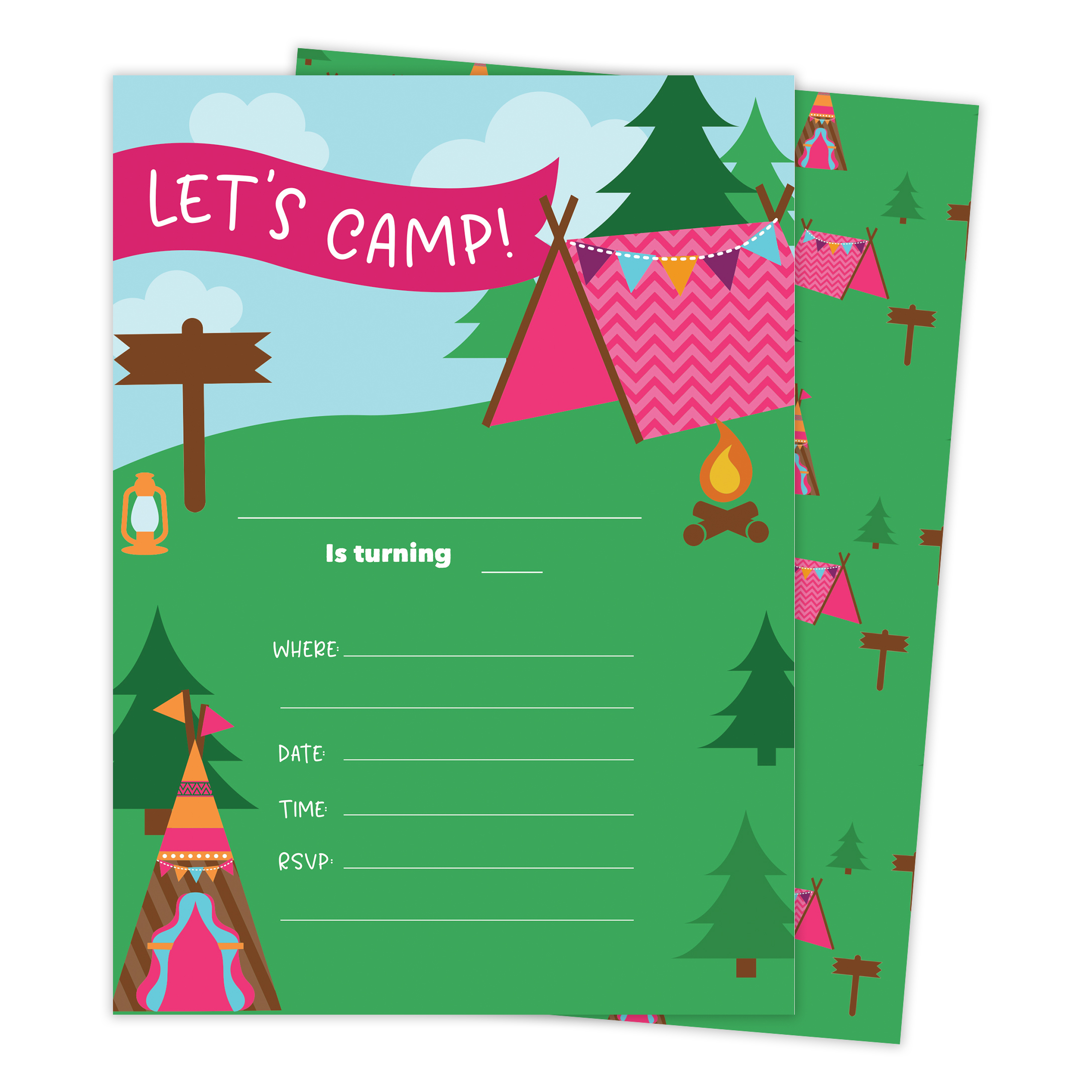 Camping Girls 3 Happy Birthday Invitations Invite Cards (25 Count) With Envelopes & Seal Stickers Vinyl Girls Kids Party