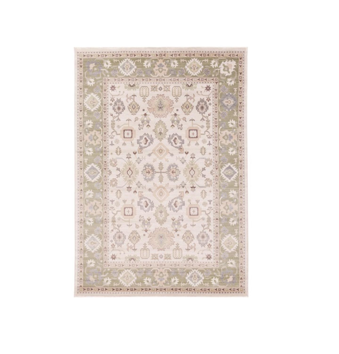 3.75' x 5.15' Noble Hush Oatmeal Brown, Pea Green and Sepia Decorative Area Throw Rug