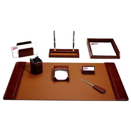 Mocha Leather 8-Piece Desk Set](Stationary Items)