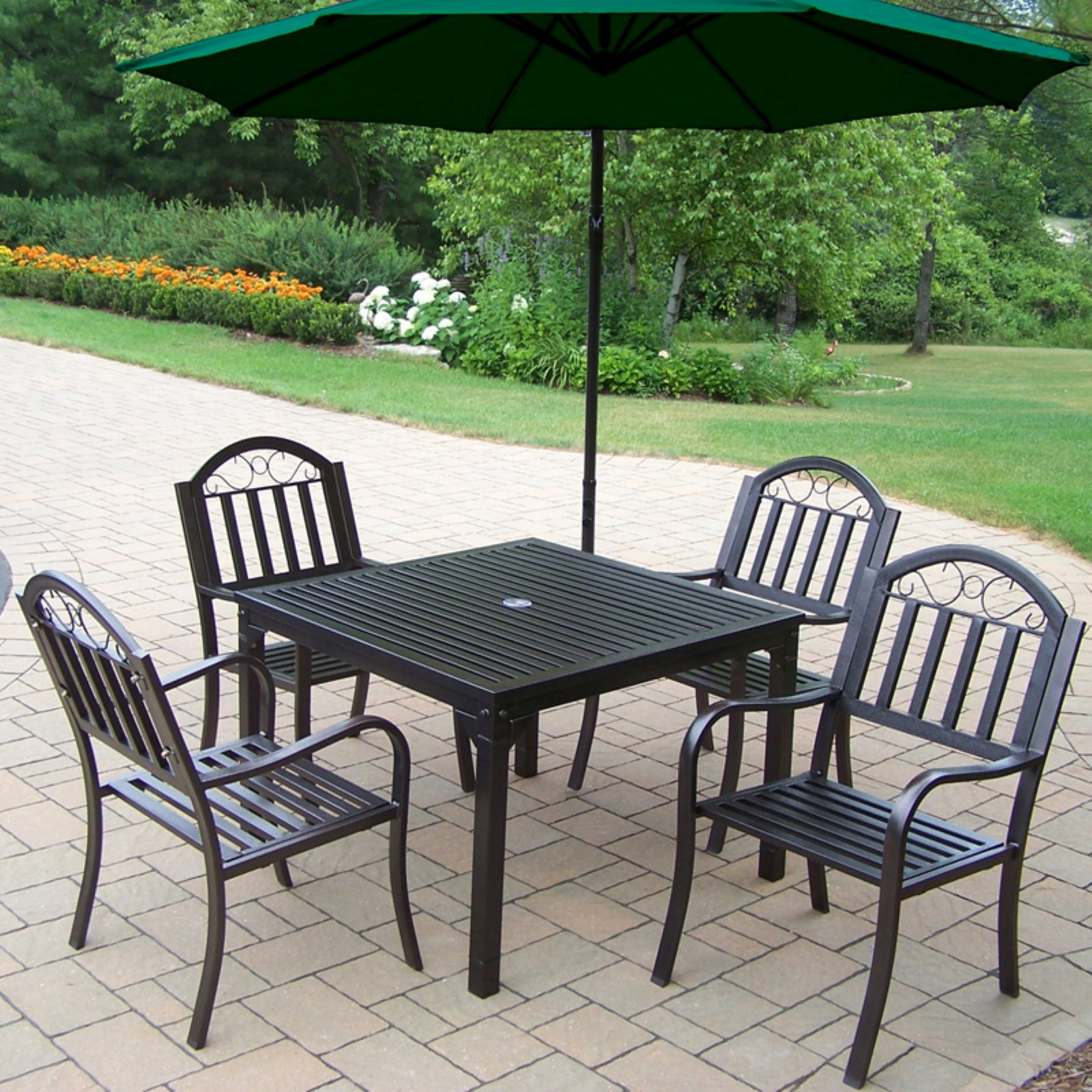 Oakland Living Rochester 40 x 40 in. Patio Dining Set with Cantilever Umbrella