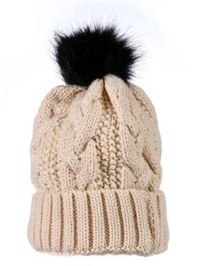 """Yacht&Smith Womens Pom Pom Beanie Hat, Winter Cable Knit Hat, Warm Cap, 3"""" Poms (Beige)"""