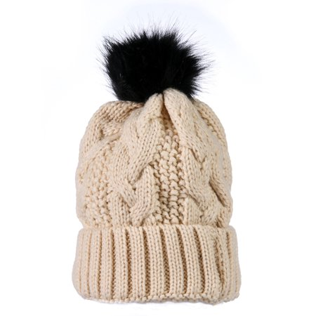- Yacht&Smith Womens Pom Pom Beanie Hat, Winter Cable Knit Hat, Warm Cap, 3
