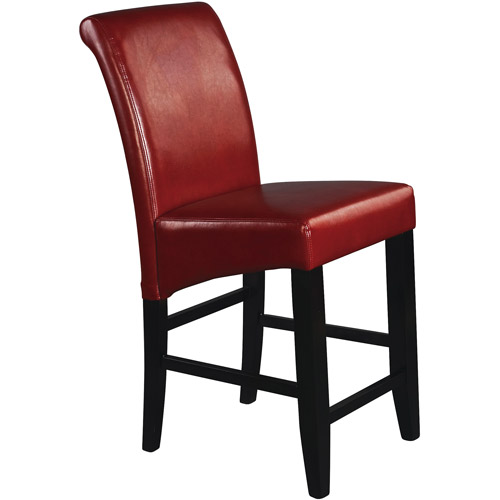 Metro Parsons Counter Stool 24  Crimson Red Leather  sc 1 st  Walmart : red leather counter stools - islam-shia.org