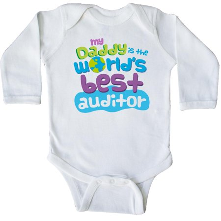 Inktastic Worlds Best Auditor Daddy Long Sleeve Creeper child's kids baby gift auditor's son childs like my cute occupation apparel is occupations hws](Best Toddler Clothes Online)