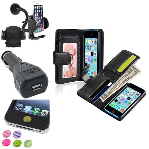 Insten Black Wallet Leather Case with Card Slot+Mount+Car Charger+Sticker For Apple iPhone 5C