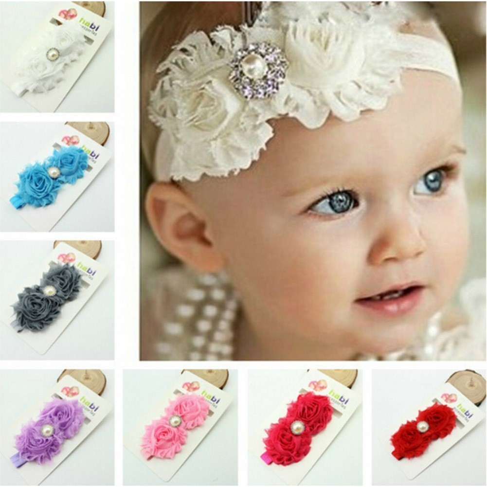 Baby Girls Multi Color Ruffled Flower Sparkle Brooch Attached 7Pc Headband Set