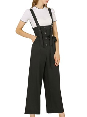 Women's Button Front Placket High Waist Belted Straight Overall Jumpsuit (Size L / 14) Black