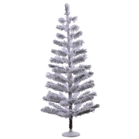vickerman white plastic 4 foot flocked feather unlit artificial christmas tree