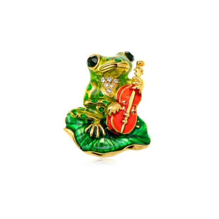 Feinuhan Golden Tone Emerald Green Colored Rhinestones Frog Toad Violin Leaf Brooch Pin