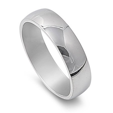 Stainless Steel Band Polished Plain Wedding Ring 316L Surgical 6mm Size 10