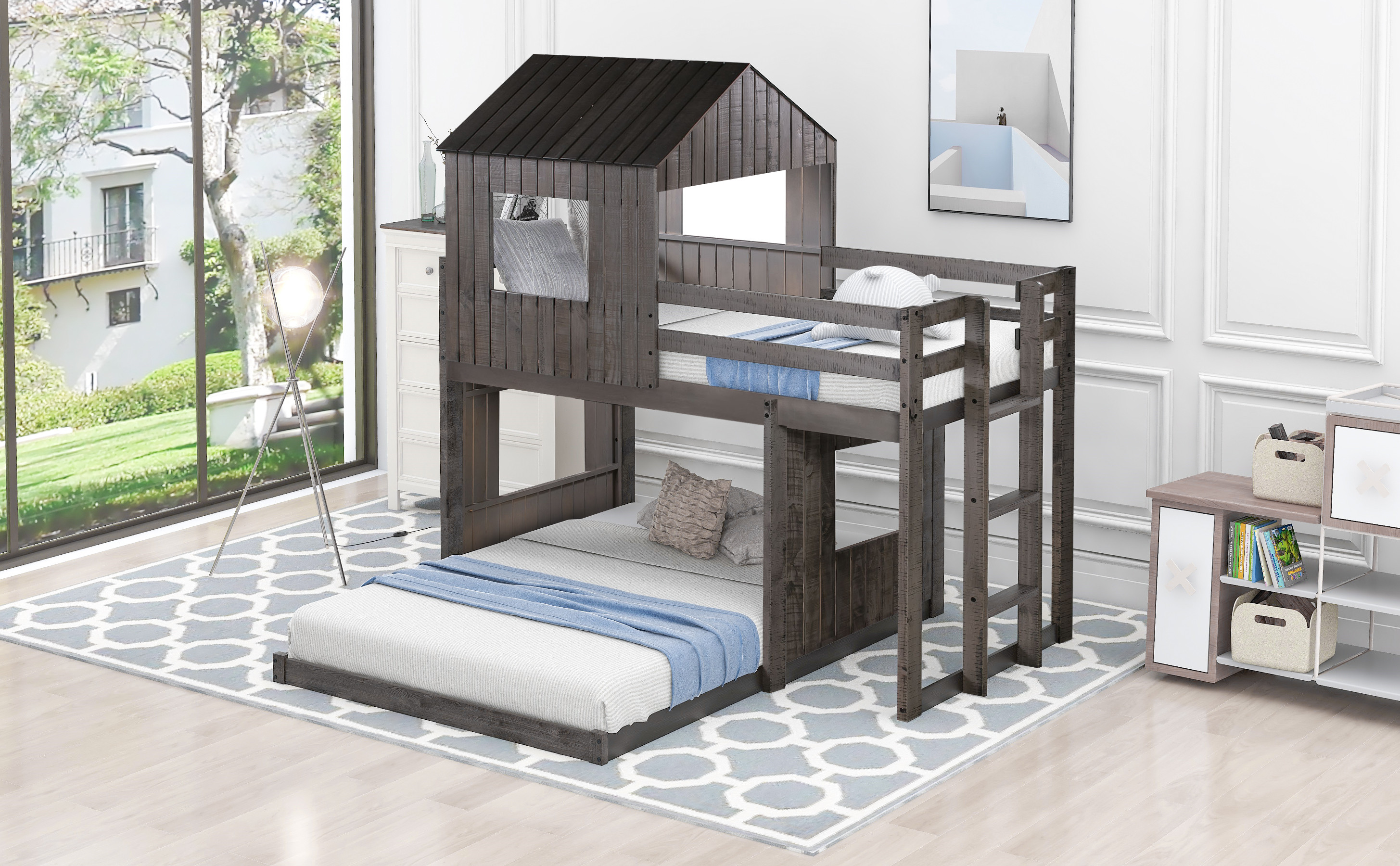 Picture of: Fantadool Wooden Twin Over Full Bunk Bed Loft Bed With Playhouse Farmhouse Ladder And Guardrails For Kids Toddlers Boys Girls Antique Gray Walmart Com Walmart Com