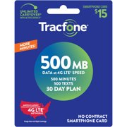 Tracfone $15 Smartphone 30 Day Prepaid Plan, 500 Min/500 Txt/500 MB Data e-PIN Top Up (Email Delivery)