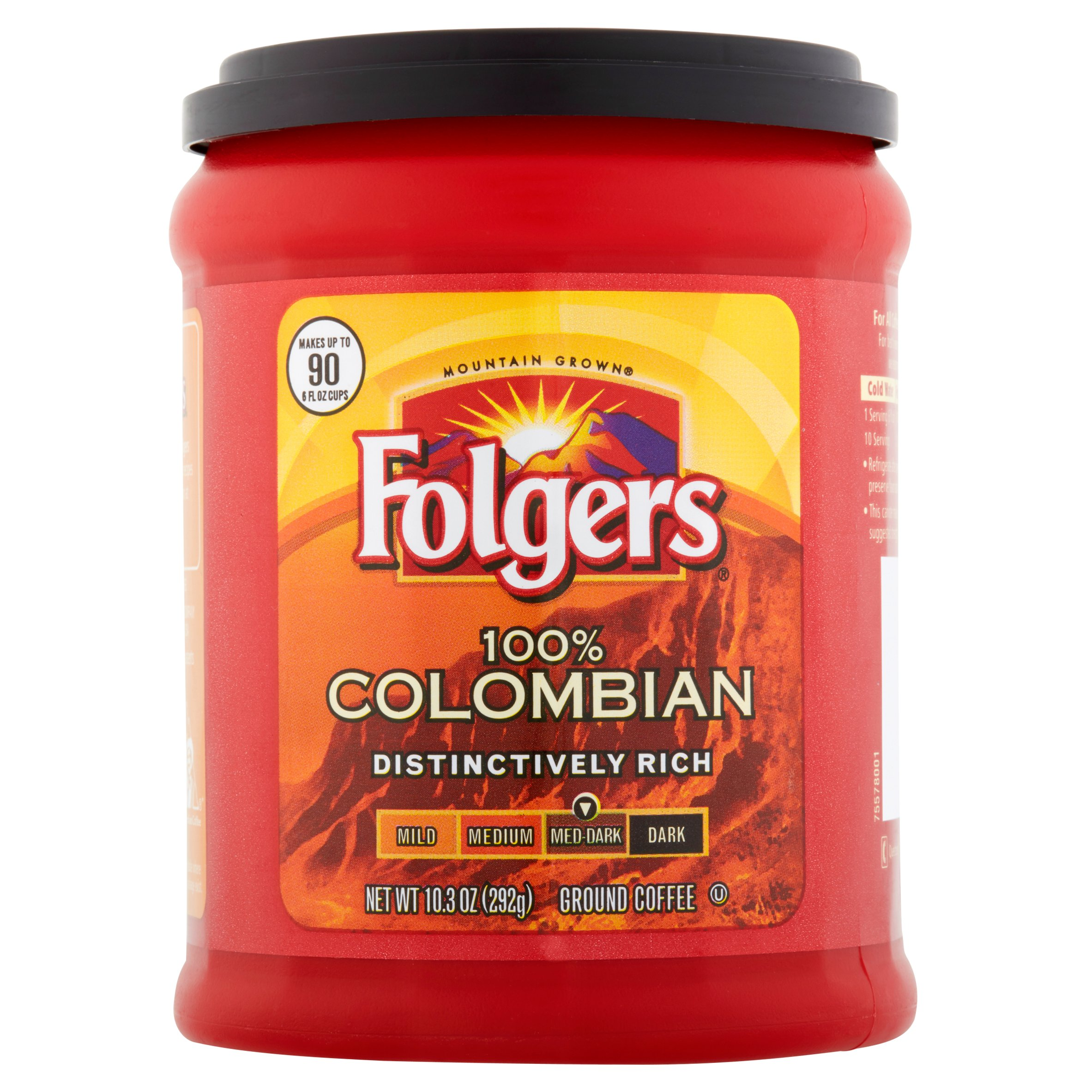 Folgers 100% Colombian Ground Coffee Med-Dark, 10.3 OZ