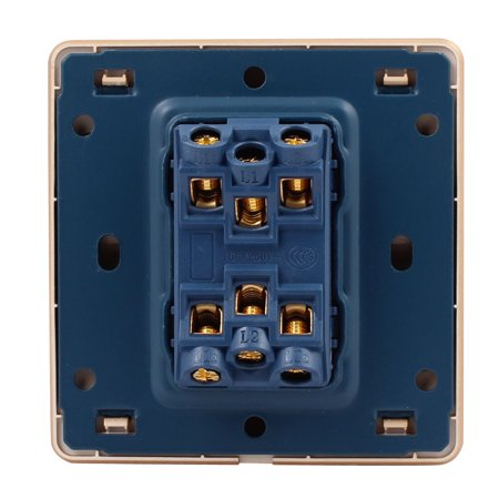 AC 250V 16A On/Off Press Button 1-Gang Multi-Way Wall Switch Gold Tone - image 2 of 4